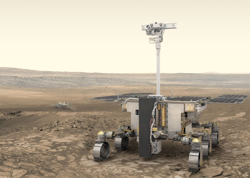ESA's ExoMars rover (foreground) and Russia's stationary surface science platform (background) are scheduled for launch in July 2020,