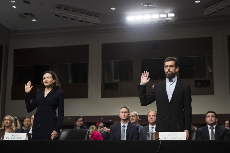 Facebook COO Sheryl Sandberg and Twitter CEO Jack Dorsey testified before the Senate Intelligence Committee regarding foreign influence operations' use of their social media platforms on September 5, 2018.