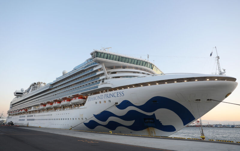 A huge luxury cruise ship sits in port.