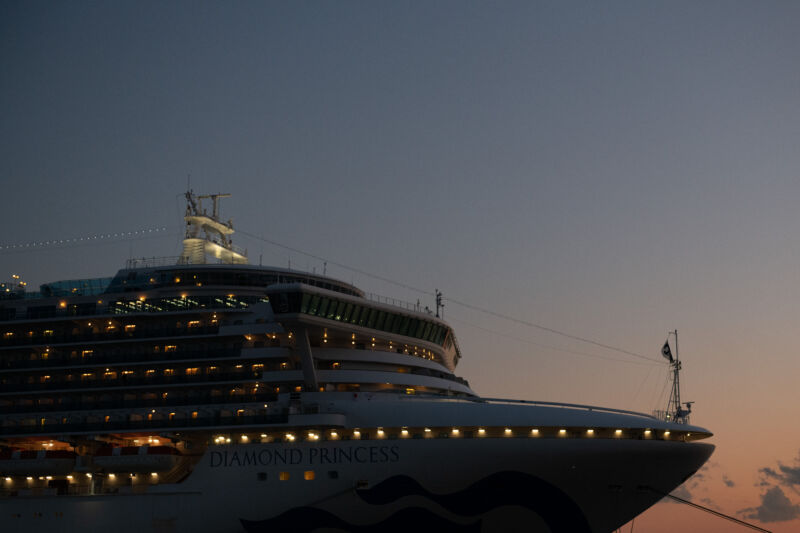 A cruise ship sits in a dock at dusk.