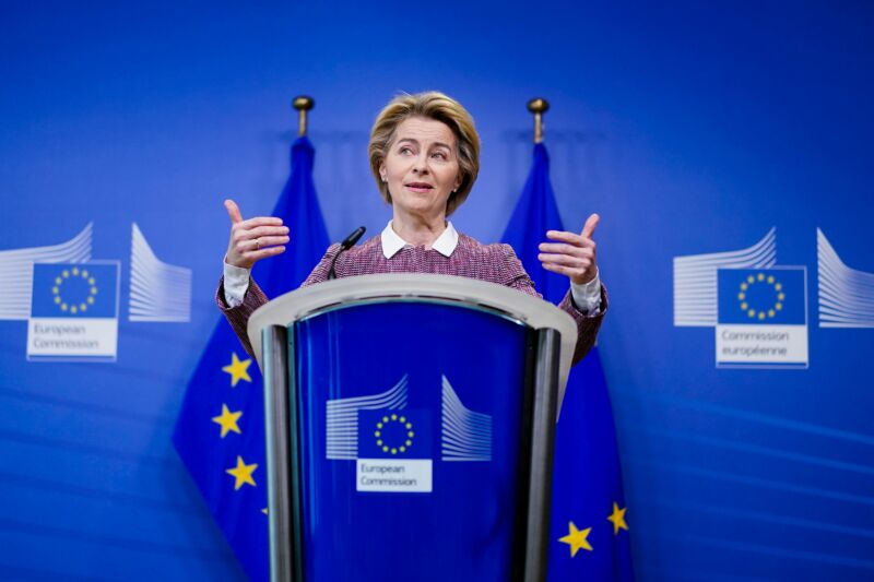 "European Commission President Ursula von der Leyen launching ""A Europe fit for the Digital Age"" initiative at a press conference on February 19, 2020 in Brussels."