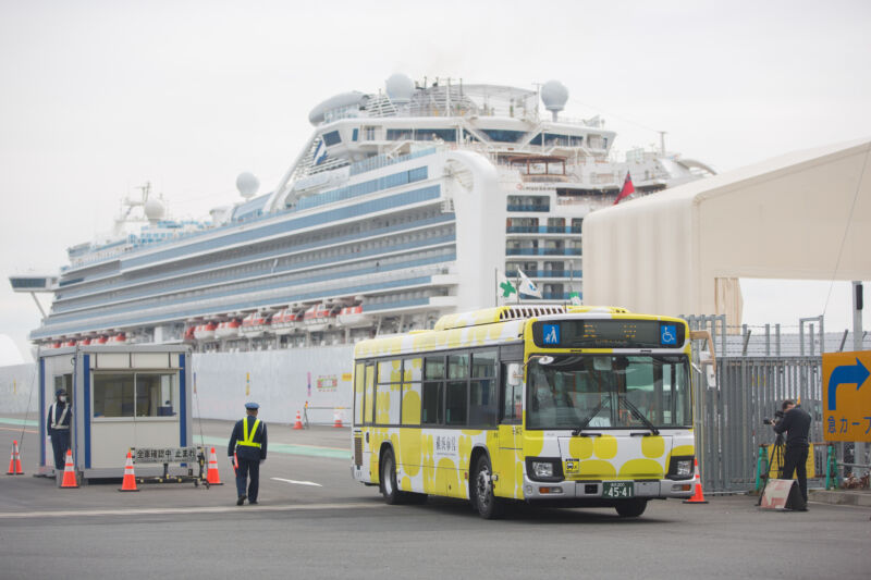 YOKOHAMA, JAPAN - 2020/02/20: Former passengers of the Diamond Princess cruise ship leave on a chartered bus after spending weeks on board in quarantine.