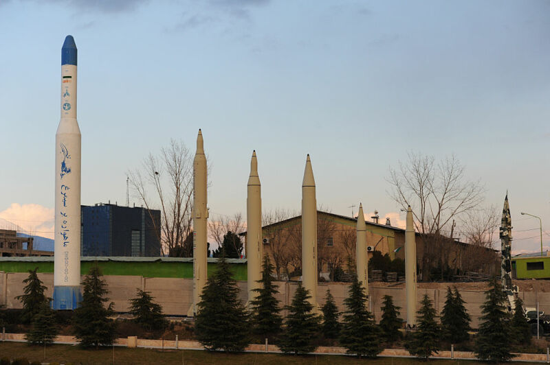 Replica Iranian missiles are shown alongside the Simorgh rocket, left, on display at the Holy/Sacred Defense Museum, a vast complex that commemorates the 1980s Iran-Iraq War, in Tehran, Iran, on February 3, 2016.