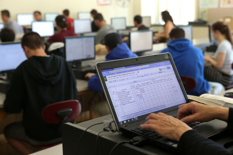 Students use Google Suite apps on computers in a classroom in Groton, Mass. on May 11, 2016.
