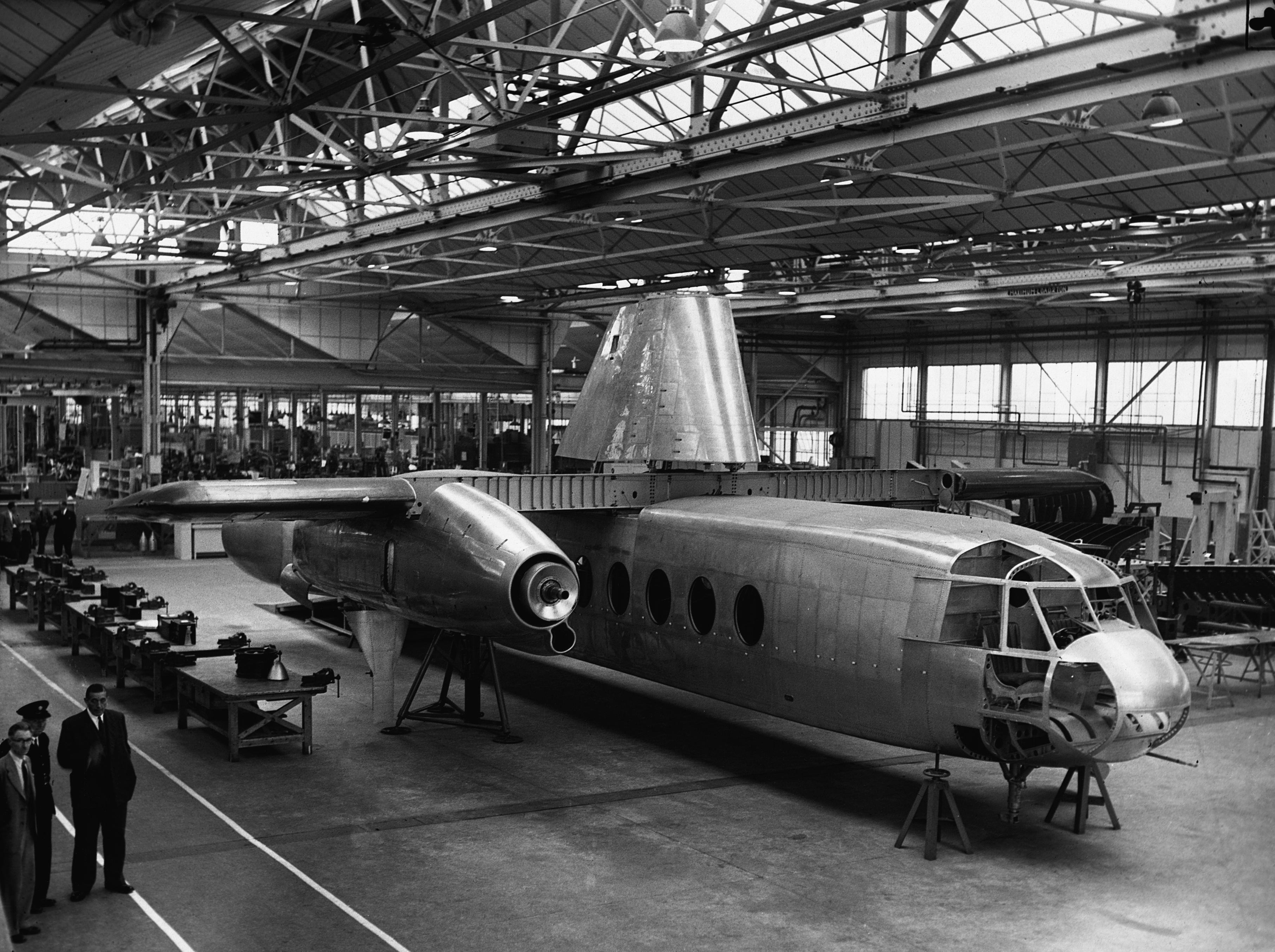 A Rotodyne under construction at Fairey's factory.