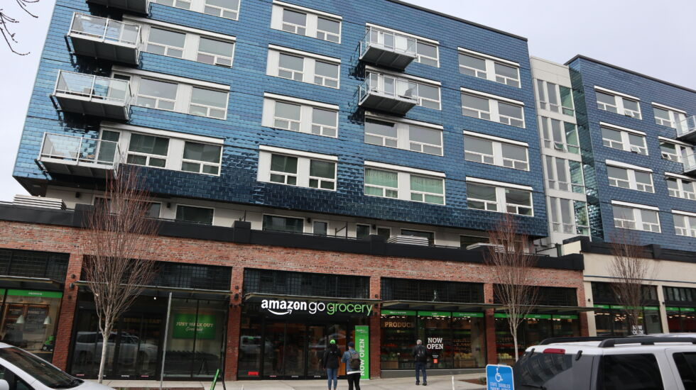 Another view of Amazon Go Grocery's first location in the Seattle neighborhood of Capitol Hill.