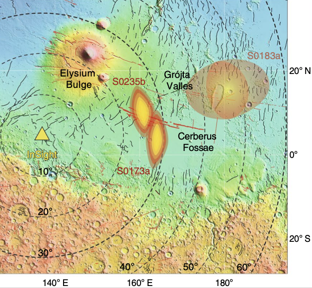 The likely locations of some of the marsquakes registered by InSight's instruments.