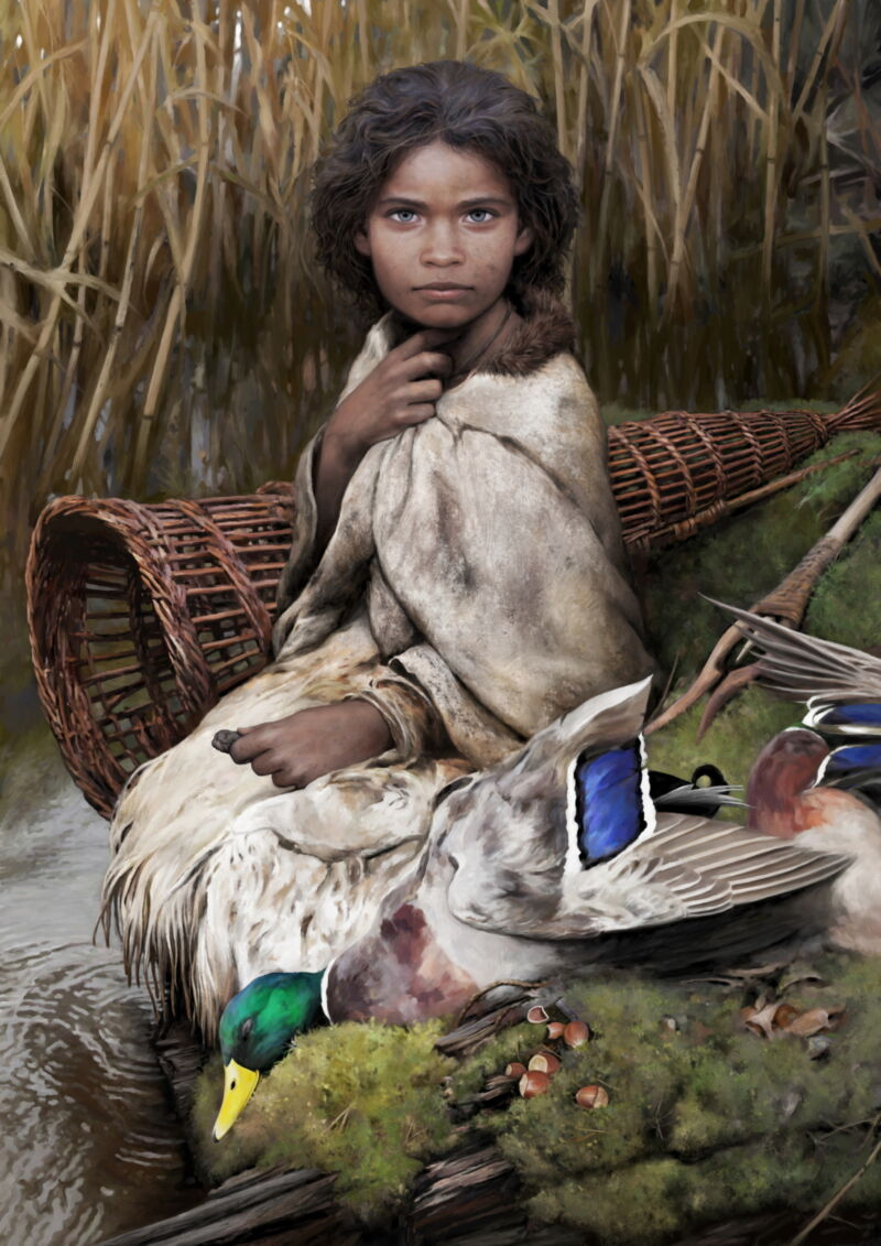 "This artist's reconstruction shows ""Lola"" as a young girl, with items that likely would have been part of her daily life, but we have no way of knowing how old she was when she chewed and discarded the lump of birch-bark pitch."