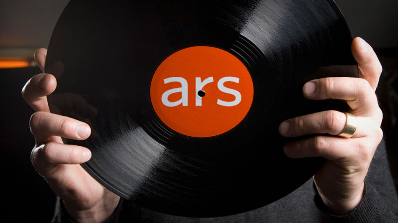 Illustration of a person's hands holding up a vinyl record, which has an Ars Technica logo.