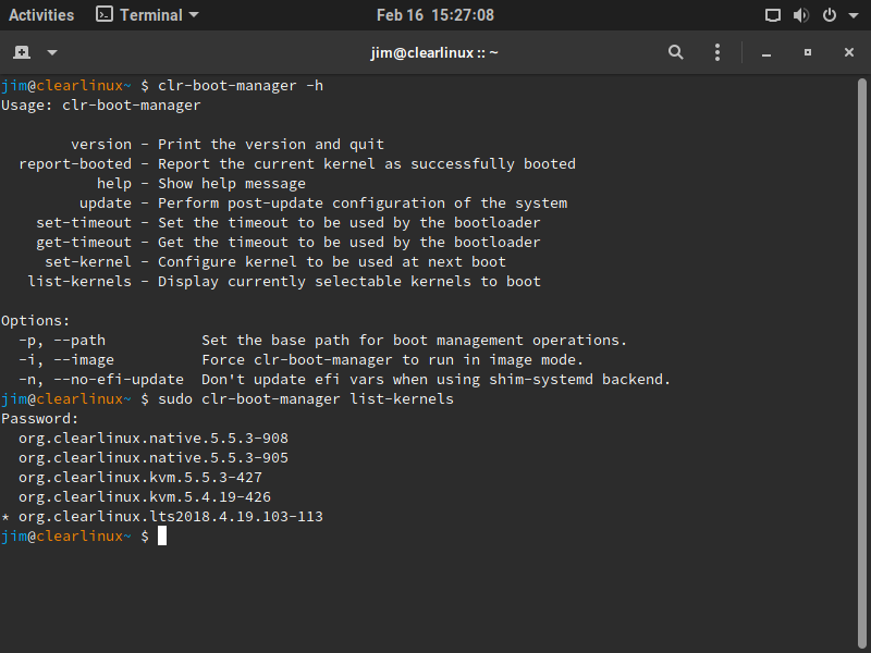 The clr-boot-manager tool looks pretty straightforward—but not all of the options worked.