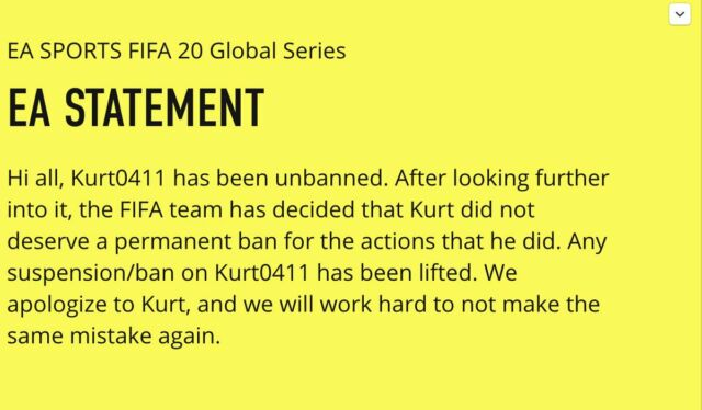 A fake statement posted to a hacked <em>FIFA</em> community manager account in the wake of Fenech's competitive ban in November.