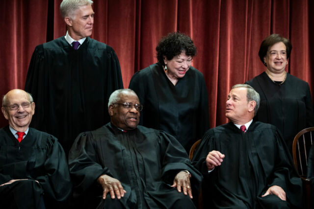 US Supreme Court justices sit for their official group photo on Friday, Nov. 30, 2018 in Washington, DC. Seated from left, Associate Justice Stephen Breyer, Associate Justice Clarence Thomas, and Chief Justice of the United States John Roberts. Standing from left, Associate Justice Neil Gorsuch, Associate Justice Sonia Sotomayor, and Associate Justice Elena Kagan.