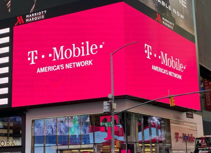 The outside of a T-Mobile store in New York City with a sign that says