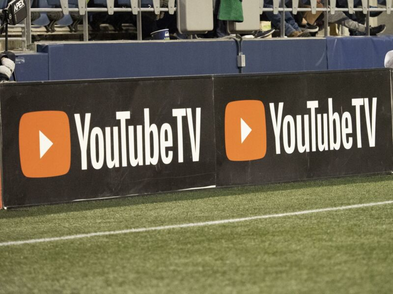 The YouTube TV logo seen on the sidelines at a Major League Soccer game.