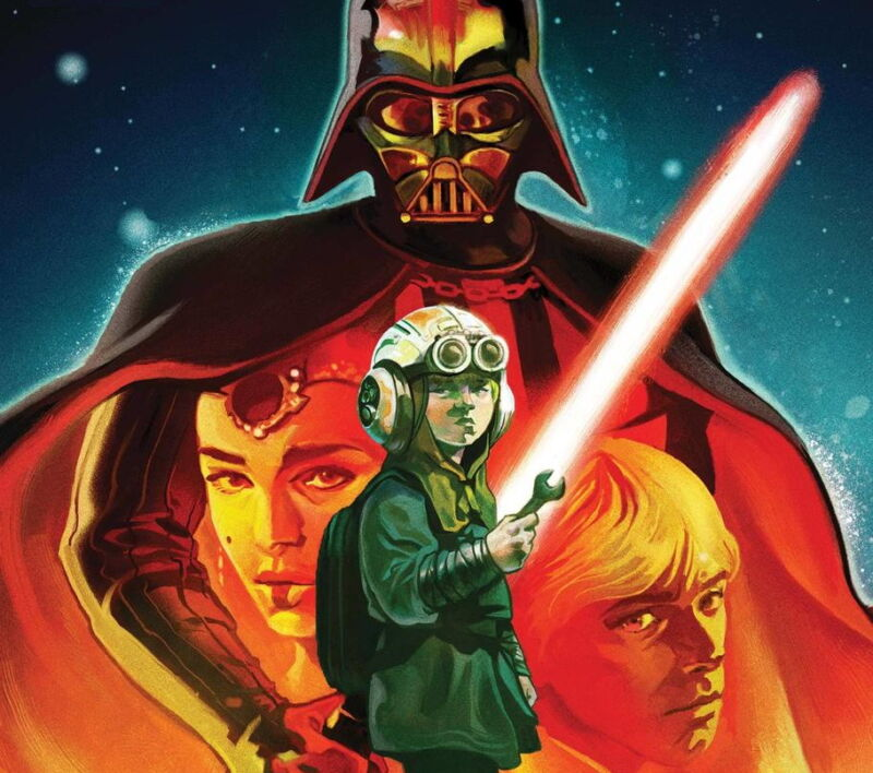 Cover of comic book features Darth Vader and 3 other characters.