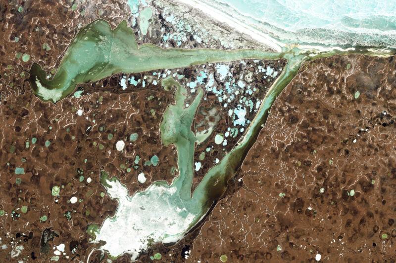 Satellite photo of lakes.
