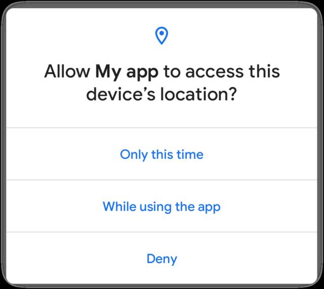 Dialogen til engangs tilladelse i Android 11.