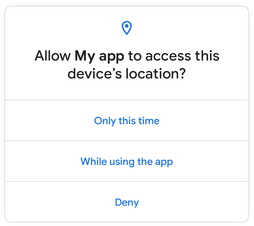 The one-time permission dialog in Android 11.