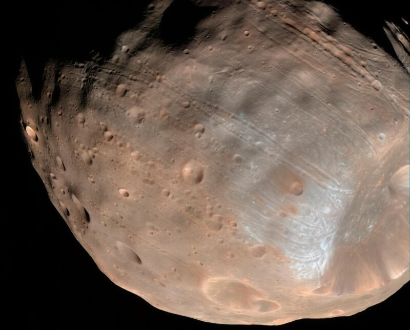 An image of Phobos captured by NASA's Mars Reconnaissance Orbiter.
