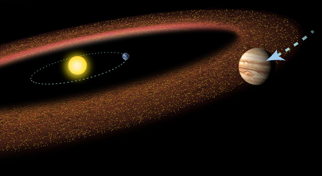 Cartoon of the Sun, Earth, and Jupiter, with a diffuse collection of asteroids.