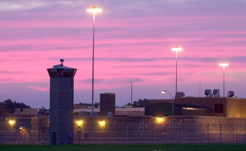 A red sky hangs over the Federal Prison 08 June 20