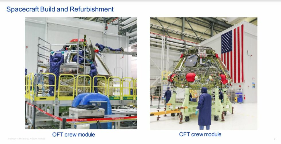 Boeing shared recent images of the Starliner used during December's test, left, and the vehicle being built for a crew test flight.