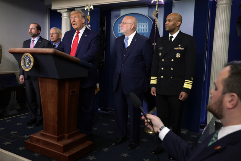 WASHINGTON, DC - FEBRUARY 29:   U.S. President Donald Trump speaks as Health and Human Services Secretary Alex Azar, National Institute for Allergy and Infectious Diseases Director Anthony Fauci, Centers for Disease Control and Prevention Director Robert Redfield and Surgeon General Jerome Adams listen during a news conference at the James Brady Press Briefing Room at the White House February 29, 2020 in Washington, DC. The Department of Health in Washington State has reported the first death in the U.S. related to the coronavirus.