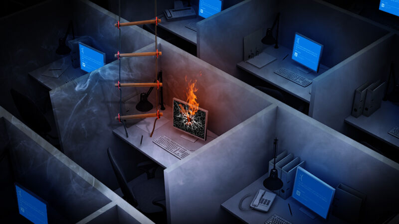 Work in an actual office (artist's rendering).