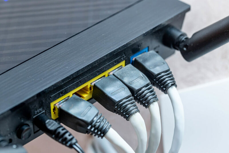 Stock photo of Ethernet connections.