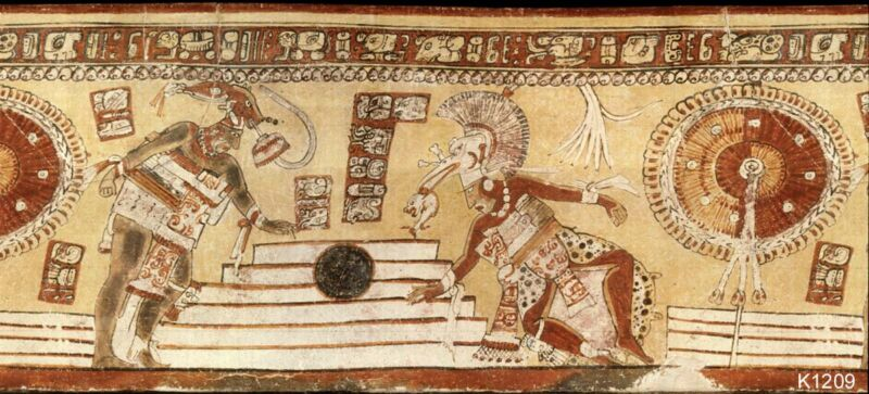 Ancient stylized image of ball game players.