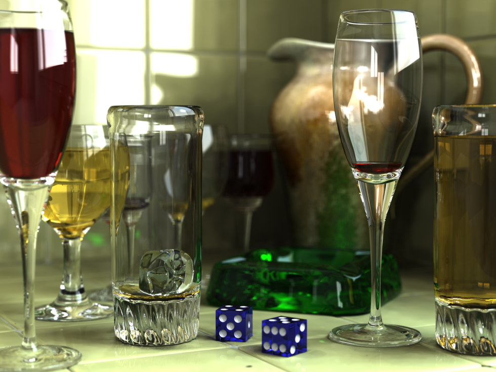 Although this image was not created using DirectX real-time ray tracing, it's a good example of what the technique can do. The key concept is to follow a ray of light as it bounces from or refracts through multiple objects.