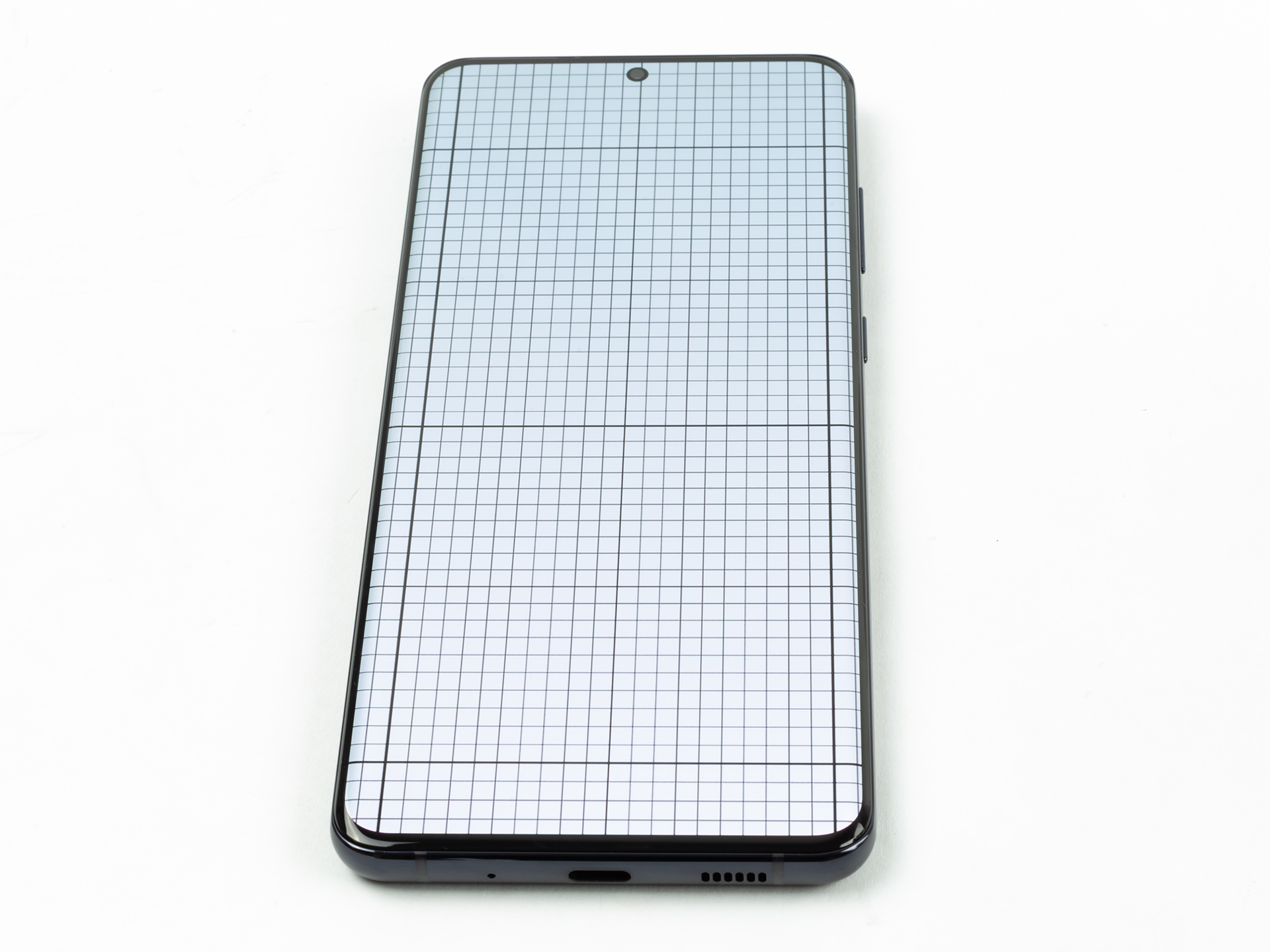 This is meant to show how the screen curves. You'll only see the grid distort very close to the sides.