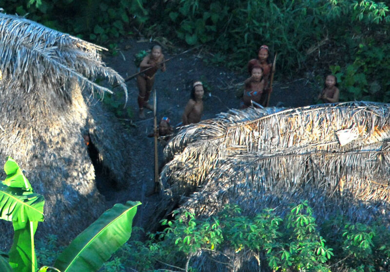 Members of an uncontacted tribe in Acre, northwestern Brazil, 2009.