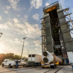 In February, the process of moving the Atlas V booster onto the Mobile Launch platform began.