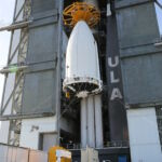 The Advanced Extremely High Frequency-6 (AEHF-6) communications system is mounted on top of the Atlas V rocket.