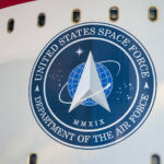 It will be the first mission for the US Space Force, with the logo shown here.