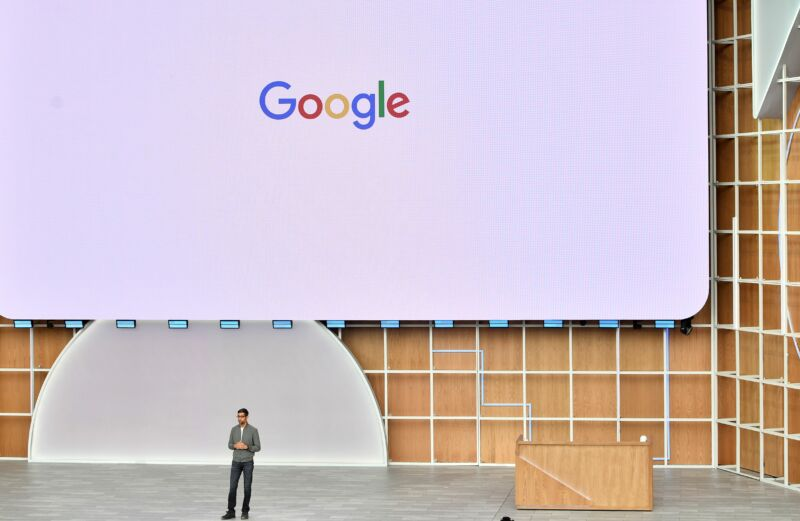 Google (and now also Alphabet) CEO Sundar Pichai speaking at the last year's Google I/O conference, May 7, 2019.