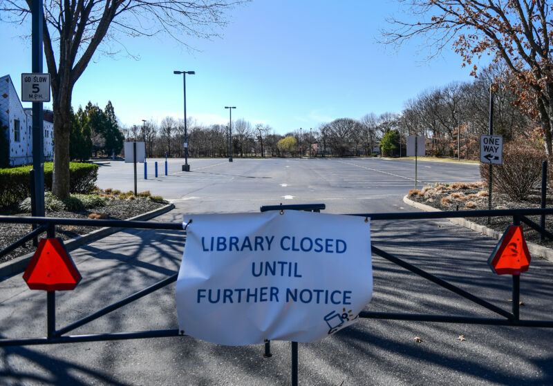 Sign in front of Middle Country public Library in Centereach, New York, on March 26, 2020.