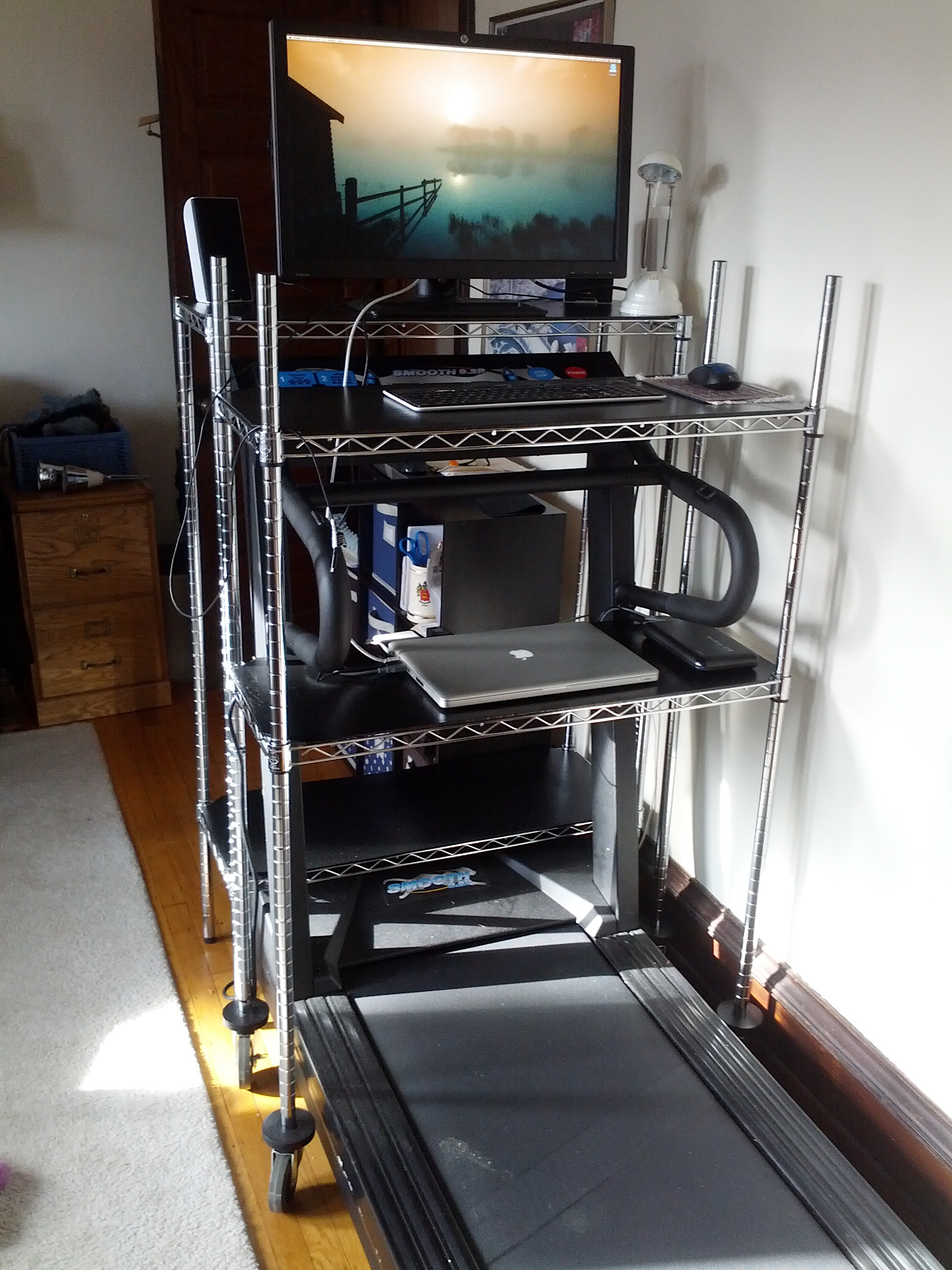 Behold, my walking desk with wire shelves.