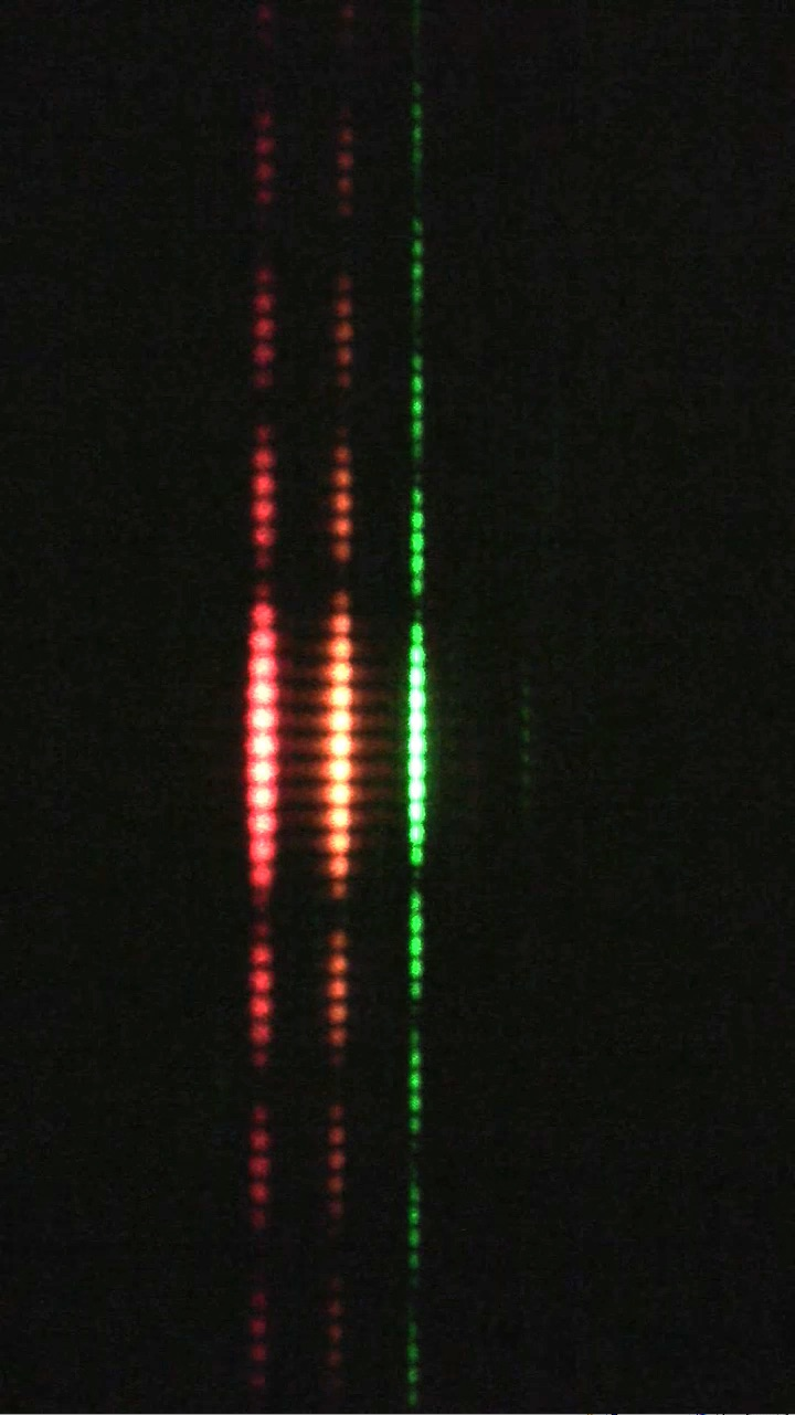 The stripes from sending red, orange, and green lasers through the same pair of slits. Notice how the green dots are closer together.