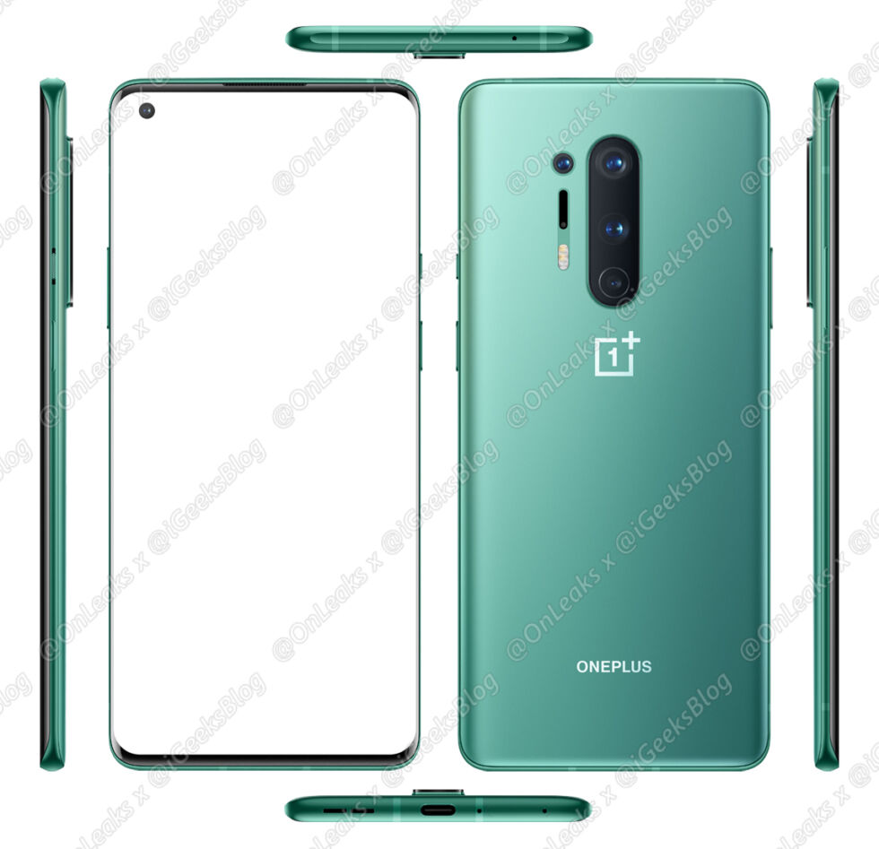 The official OnePlus 8 Pro press render, from every angle.