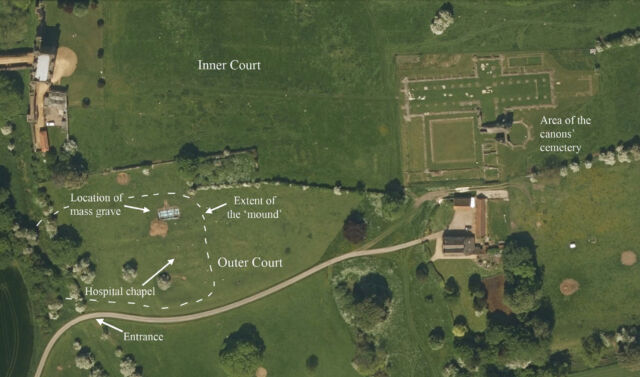 A map of the Abbey grounds, showing the location of the new discoveries.