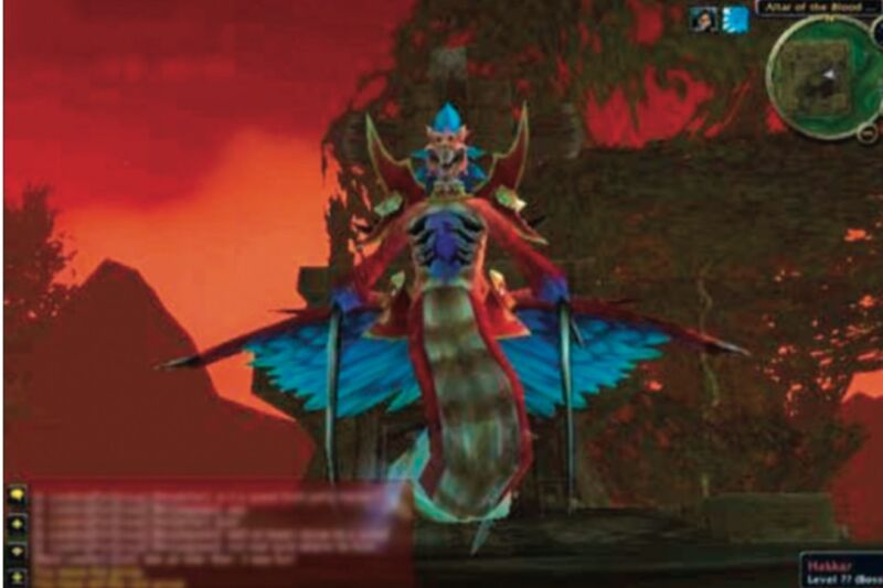 "Hakkar the Soulflayer was the primary source of infection for the ""Corrupted Blood"" outbreak in <em>World of Warcraft</em>."