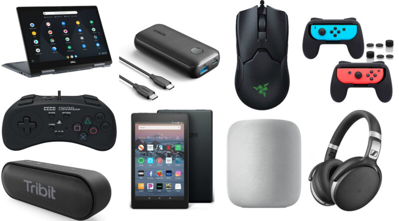 Photo collage of consumer electronic devices.