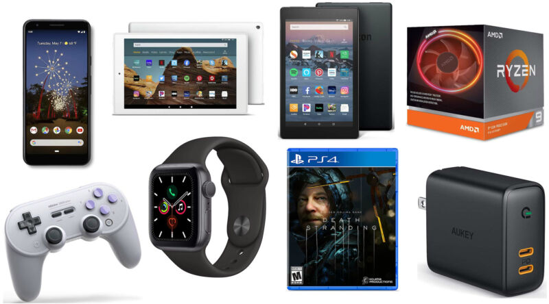 A collage of electronic devices, software, and other consumer products.