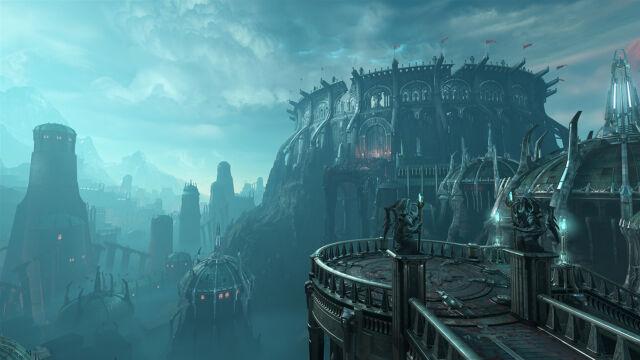<i>Doom Eternal</i>does not skimp on the gothic architecture.