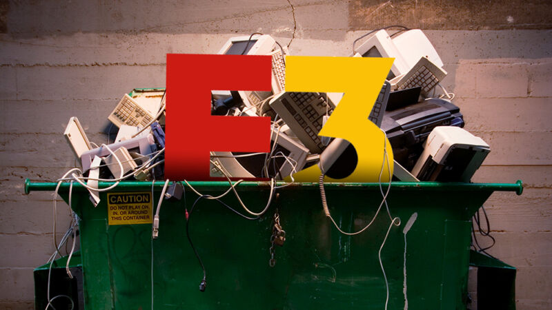 The logo for E3 has been photoshopped into a crowded dumpter.