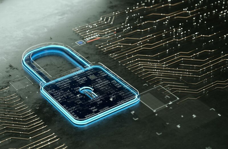 Illustration of a padlock on a computer circuit board.