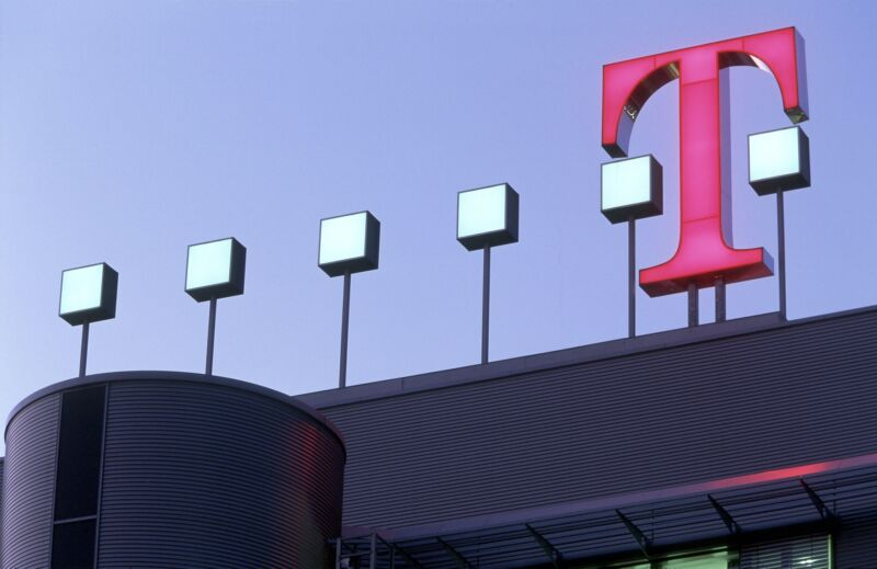 A T-Mobile sign seen on the outside of the Deutsche Telekom headquarters in Bonn, Germany.