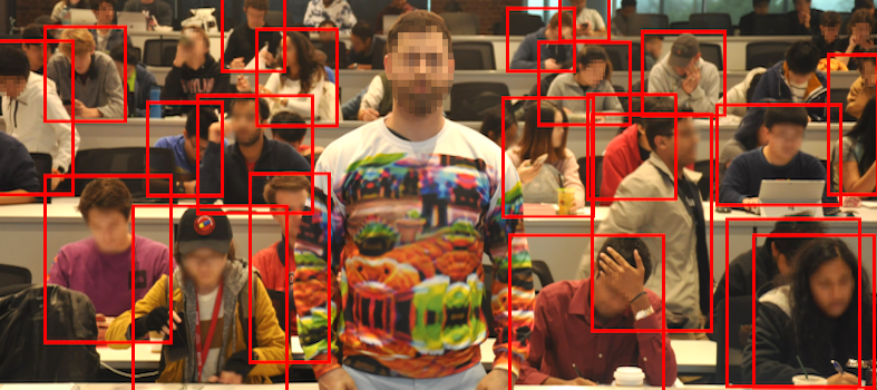 The bright adversarial pattern, which a human viewer can darn-near see from space, renders the wearer invisible to the software looking at him.